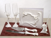 Lily Set - Guest Book/Pen, Server & Flutes
