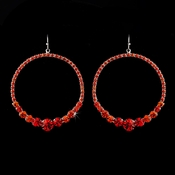 Red Rhinestone Hoop Earrings E 951