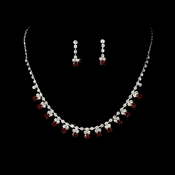 Necklace Earring Set NE 3108 Silver Burgundy