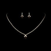 Beautiful Gold Brown Crystal Jewelry Set NE 342