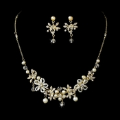 Elegant Pearl Bridal Jewelry Set NE 8005 Gold
