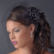 Black Feather Fascinator Bridal or Special Occasion Headpiece Comb 7024