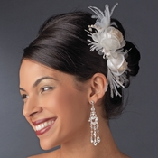 * Ivory & Rum Pink Rose & Feather Bridal Clip 1665