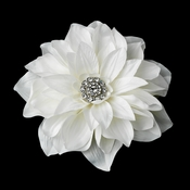 Rhodium Dahlia Hair Clip 517 or Clip Brooch with Ivory Petals & Sparkling Crystals