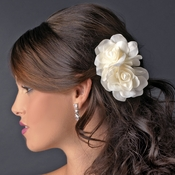 Graceful White or Ivory Double Flower Comb 5690 or Brooch Clip 5690