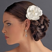 Matt Satin Flower Bridal Hair  Clip w/ Rhinestones, Swarovski Crystals & Fresh Water Pearl accents 8429
