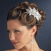 Silver Ivory Fabric & Rhinestone Side Comb 9484