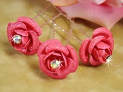 * Pink Floral Glitter Hair Pin 901 (Set of 12)