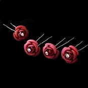 * Dark Coral Glitter Crystal Bridal Hair Pin 901 (Set of 12)