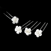 Ceramic Porcelain Floral Crystal Hair Pin 65 (Set of 6)