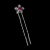 * Swarovski Crystal Hair Pins with Fuchsia Accent Pin 31