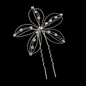 Silver with Clear Stones Floral Hair Accents Hair Pin 513