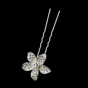 Silver Flower Rhinestone Hair Pin 1122
