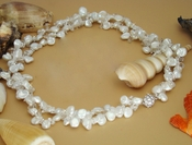 Two Strand Keshi Freshwater Pearl Necklace with Crystal Accents N 8195