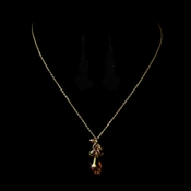 * Extraordinary Gold Amber Swarovski Crystal Necklace 8126