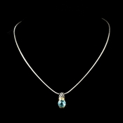 Antique Silver with Aqua Stone Designer Pendant N 1246