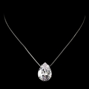 * Stunning Large Teardrop Cubic Zirconium Pendent Necklace N 5006