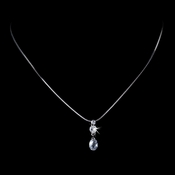 Gorgeous Silver Clear Crystal Drop Necklace 3784