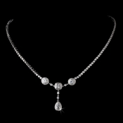 Sophisticared Teardrop Silver Clear CZ Necklace N 8103