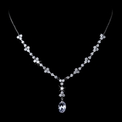 Fabulous Silver Clear CZ Drop Necklace 3673