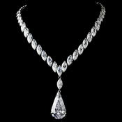 Beautiful Antique Silver Clear Cubic Zirconium Necklace N 5804