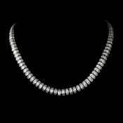 Antique Silver Clear Cubic Zirconia Necklace N 2303