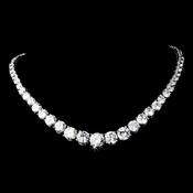 Antique Silver Clear Cubic Zirconia Necklace 2212