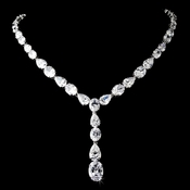 Glamorous Silver Clear Cubic Zirconia Crystal Necklace 9834  ** Discontinued **