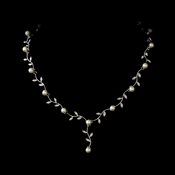 Silver & White Pearl Vine Bridal Necklace N 2657