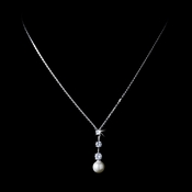 Antique Silver White Pearl & CZ Necklace N 3863