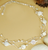 Coin Pearl  & Swarovski Crystal Necklace  N 8252