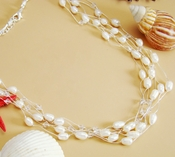 Freshwater Pearl & Crystal Multi Strand Necklace N 8250