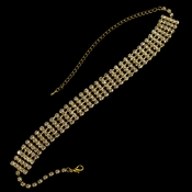 Gold Clear 5 Row Choker Necklace N 10046