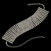 Silver Clear Crystal 11 Row Choker Necklace N 10049