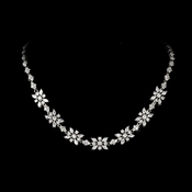 Sparkling and Charming Plated Silver Clear CZNecklace N 2626