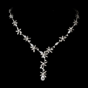 Stunning Silver Clear Crystal Floral CZ Necklace N 2621