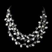 Three Row Necklace with Alternating Pearl & Crystal Embellishments 7829
