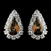 Silver Light Brown & Clear Teardrop Stud Earrings 1361