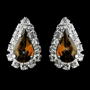 Silver Brown & Clear Teardrop Stud Earrings 1361