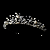 Stunning Silver Clear Crystal & Freshwater Pearl Tiara Headpiece 9784