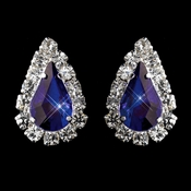 Silver Blue & Clear Teardrop Stud Earrings 1361