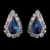 Silver Montana ( Navy) Blue & Clear Teardrop Stud Earrings 1361