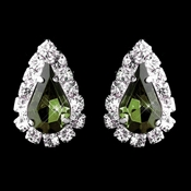 Silver Olive & Clear Teardrop Stud Earrings 1361