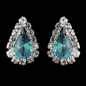 Silver Light Teal & Clear Teardrop Stud Earrings 1361