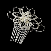 Lovely Silver Clear Rhinestone Floral Hair Comb 9825