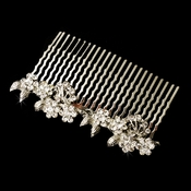 Charming Antique Silver Floral Hair Comb 9954