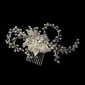 * Couture Silver Clear Rhinestone & Crystal Flower Bridal Comb 9817