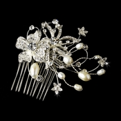 Lovely Silver Floral Hair Comb w/ Freshwater Pearls & Clear Rhinestones 9807