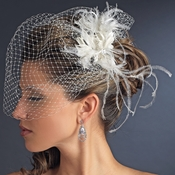 Feather Fascinator Flower with Crystal & Rhinestone Detailing & Russian Birdcage Blusher Veil White 3219