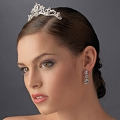 * Silver Princess Flower Rhinestone Bridal Tiara Hair Comb 8358